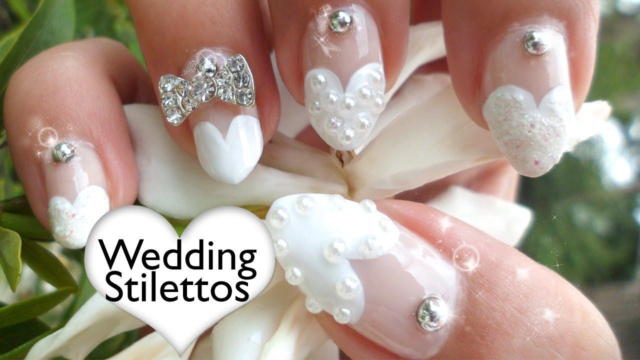 Heart tip nails tutorial wedding stilettos non dominant hand heart tip nails tutorial wedding stilettos non dominant hand youtube prinsesfo Image collections