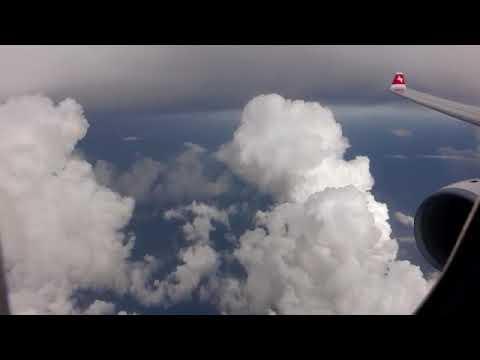 Swiss Airbus A330-300 -big rains upon landing in Miami 2017