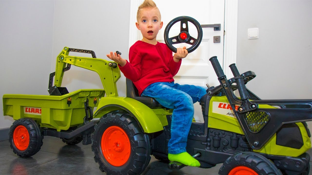 Power Wheels Ride On Tractor : Почему так получилось funny baby unboxing and assembling