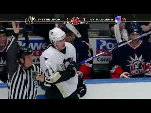 Ryan Callahan two hits on Evgeni Malkin vs Penguins (2007)