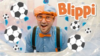 Blippi Visits Bubble Soccer | Educational Videos for Kids | Moonbug Kids