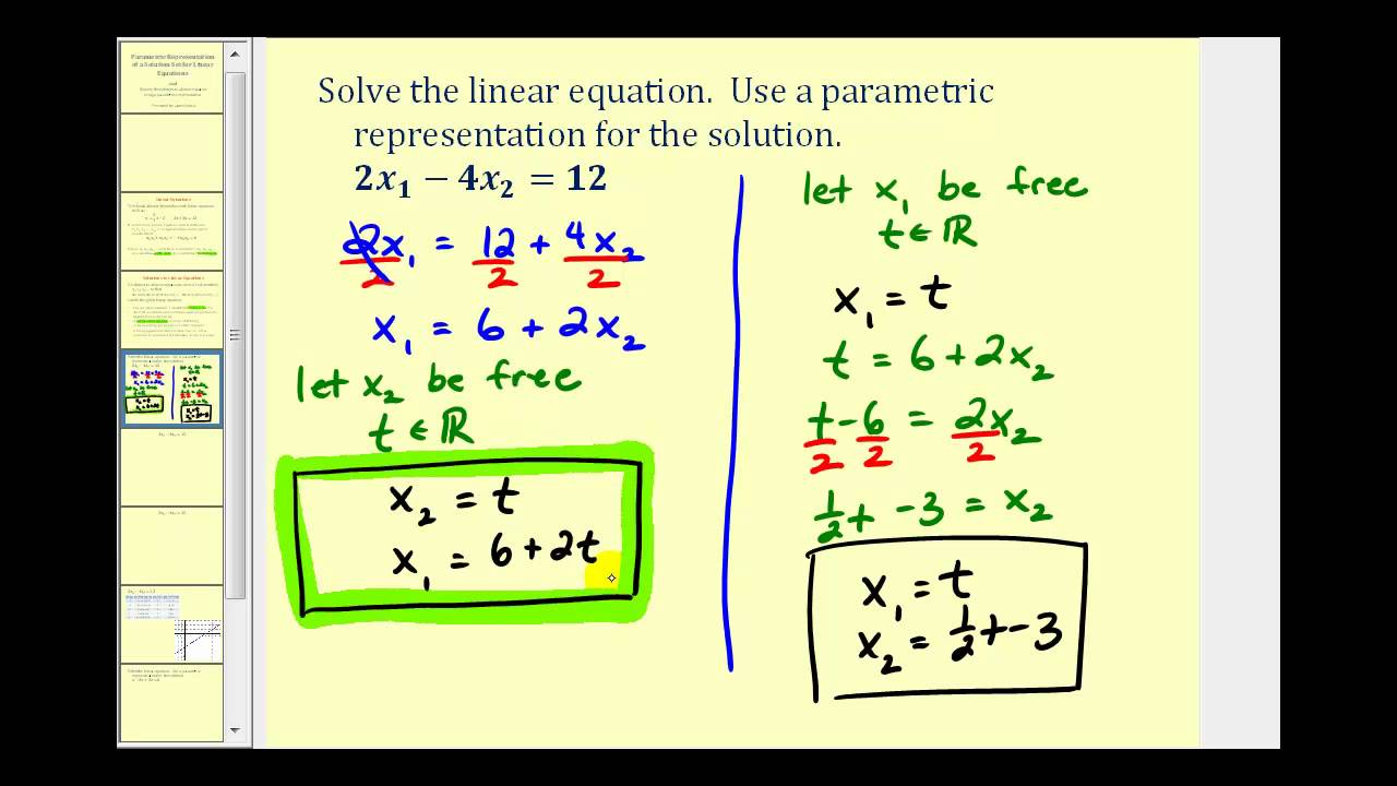 Parametric Representation of the Solution Set to a Linear Equation ...