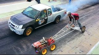 1 Cyclinder FARM TRACTOR beats a V8 Turbo Pick-Up in Drag Racing!