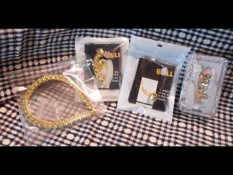 UWIN Hip Hop Grillz Teeth Bracelet Gold Bling Jewelry Unboxing and Review - Aliexpress