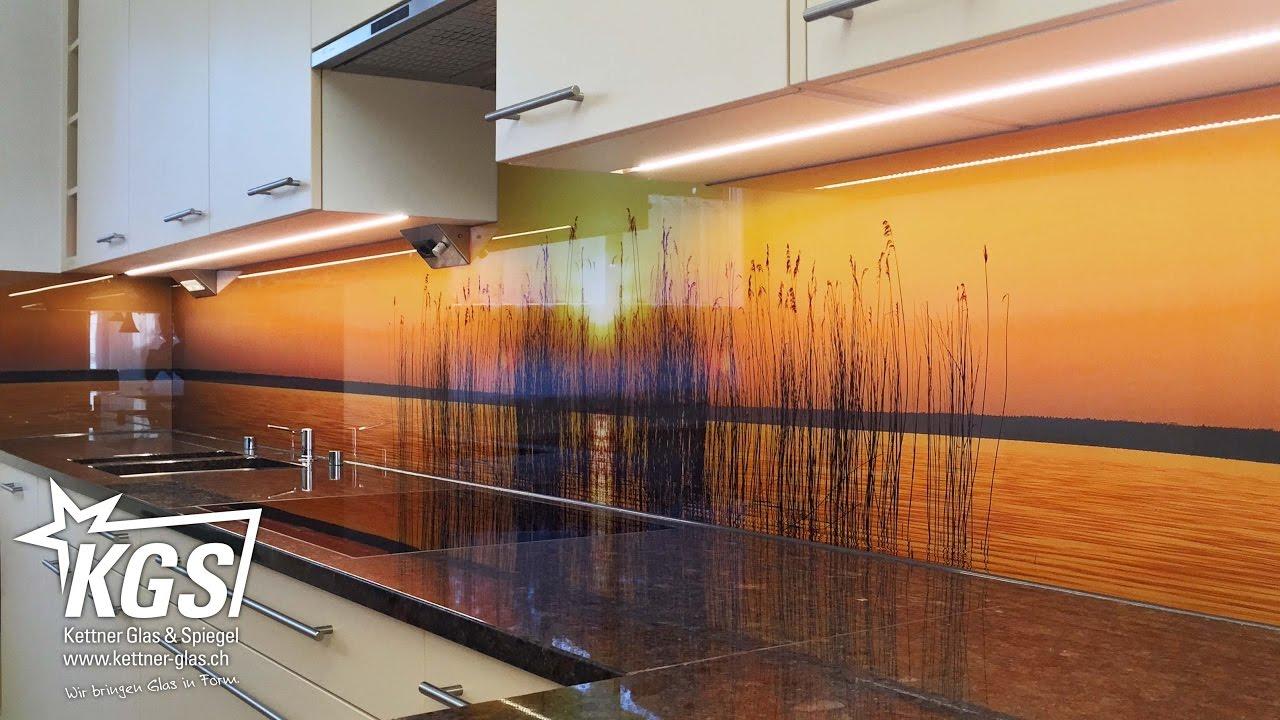 Echtglas küchenrückwände mit digitaldruck, lackierung oder ...