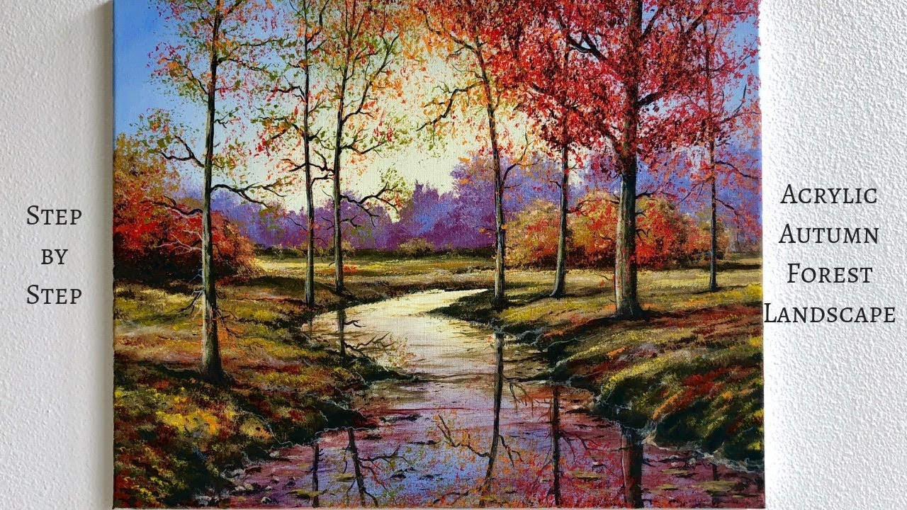 Autumn Forest Step By Step Acrylic Painting Colorbyfeliks Youtube