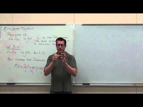 Calculus 3 Lecture 12.1:  An Introduction To Vector Functions