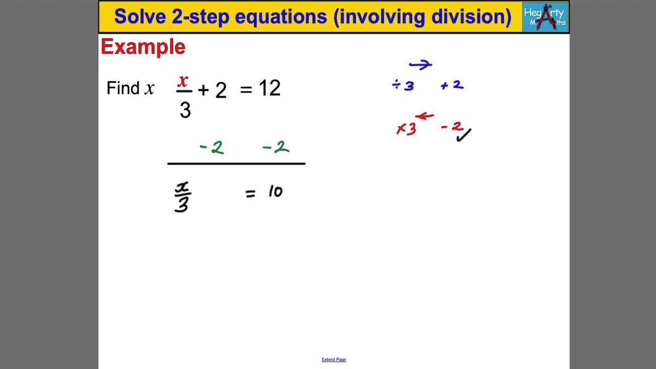 Solve 2 Step Equations Involving Division Youtube