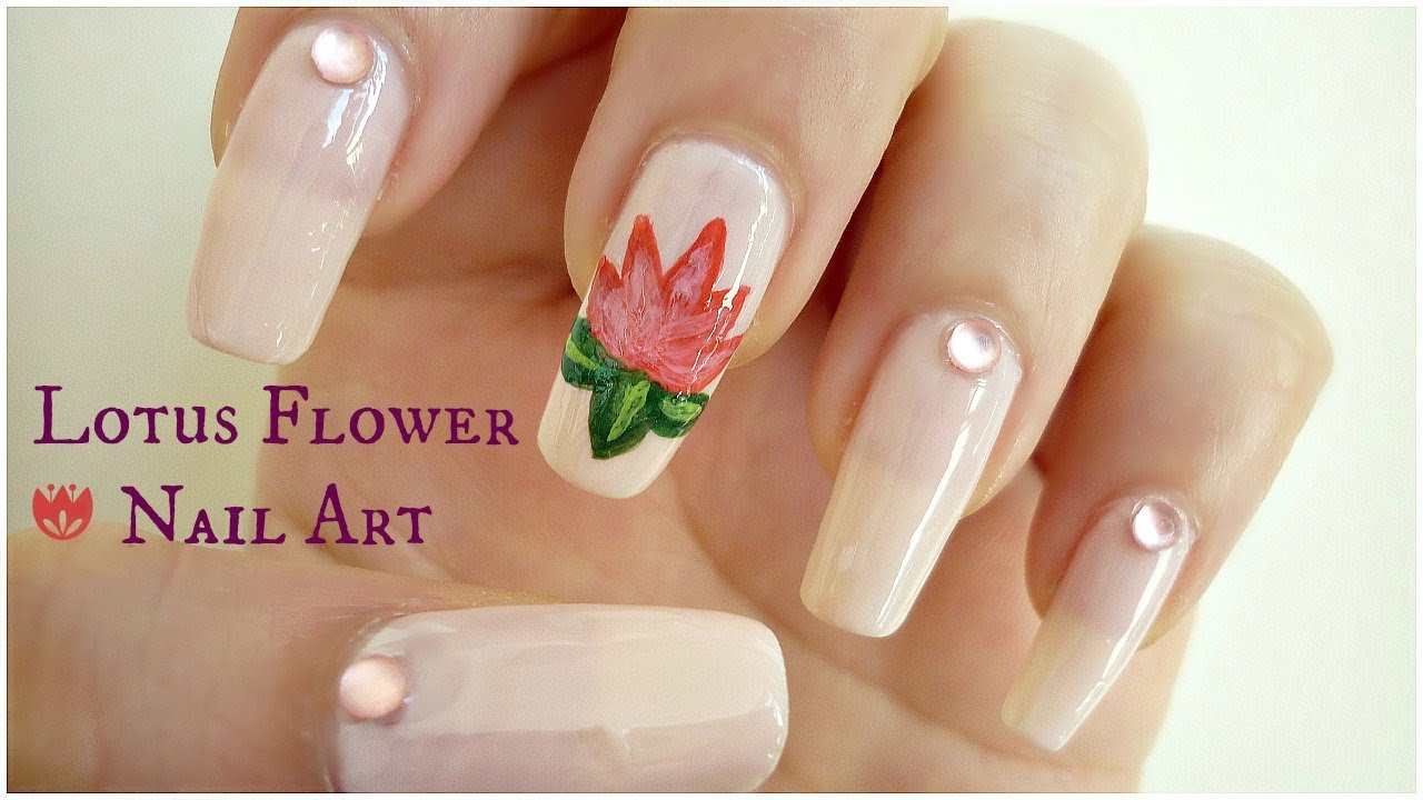 Lotus flower nail art indiannailart youtube dhlflorist Image collections