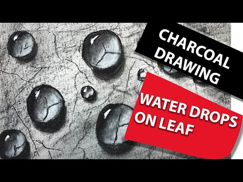 Water droplet painting technique | charcoal drawing tutorial for beginners
