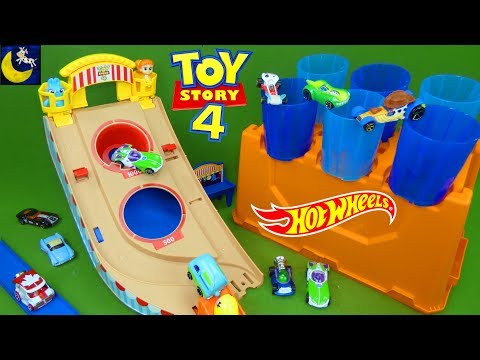 Toy Story 4 Hot Wheels Toys Carnival Track Builder Barrel Play Set Games for Kids Unboxing Toy Video