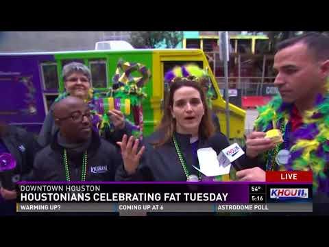 Houstonians celebrating Fat Tuesday