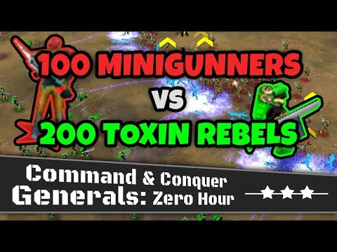 100 Mini Gunners VS 200 Toxin Rebels | C&C Generals Zero Hour