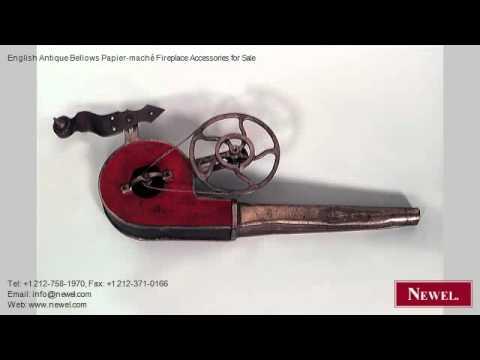 English Antique Bellows Papier-maché Fireplace Accessories