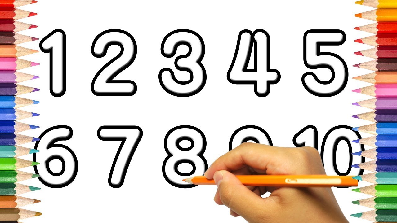 How To Draw Numbers 1 10 Learn To Count 1 To 10 And Colors For
