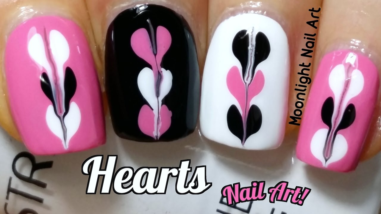 Drag Marble Heart Nail Design for Valentine\'s Day- Needle & Dotting ...