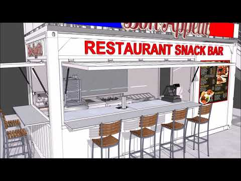 Shipping container restaurant snack bar model / Amenagement container