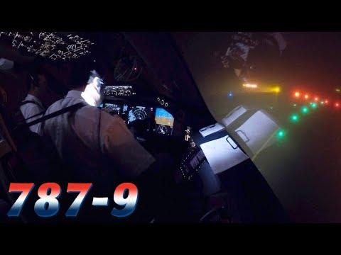 FREEZING FOG Takeoff in COCKPIT BOEING 787-9