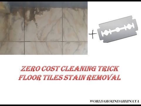 Removing hard stains from floor tiles without spending money / Cleaning hack