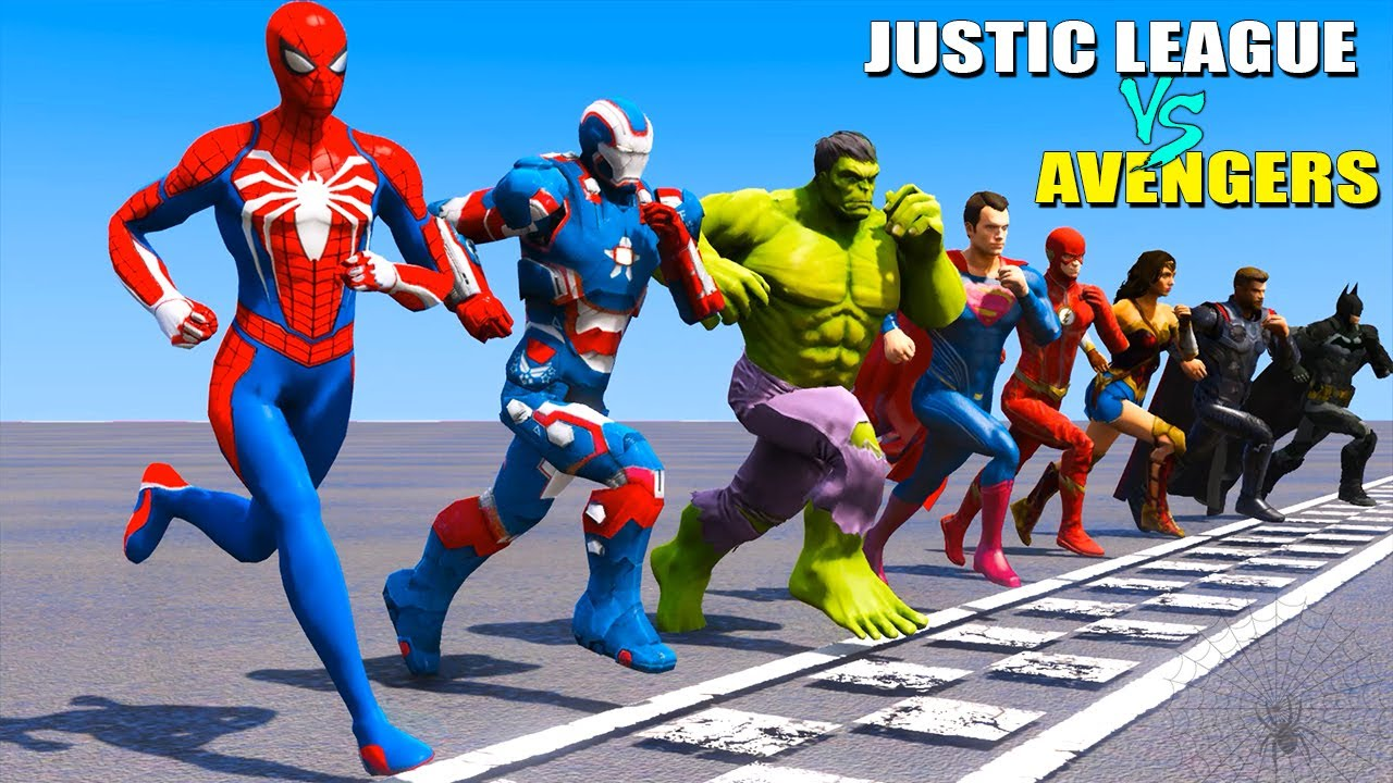 Team Avengers vs Team Justice League Running Challenge (Funny Contest) - GTA V Mods