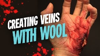 Creating veins with wool SFX makeup tutorial
