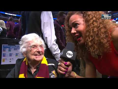 Loyola Chicago's Sister Jean reacts to the Rambler's upset of Tennessee