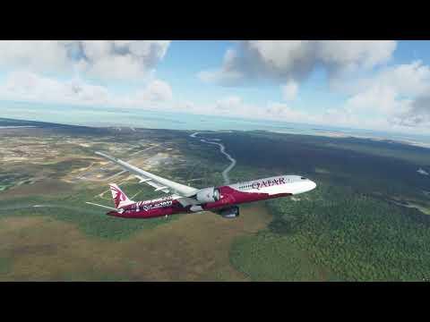 Qatar Airways 787 take off at Belize Airport [MZBZ] - MS Flight Simulator