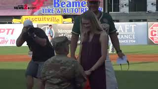 Soldier Returns Home Puts a Ring On It at Greensboro Grasshoppers Game