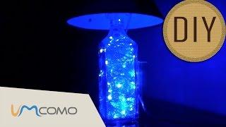 como fazer uma luminária com garrafa de vidro diy