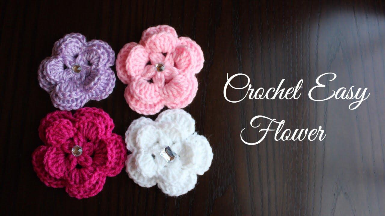 Como hacer una flor f cil a gancho o ganchillo crochet - Como hacer flores de ganchillo ...