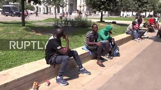 Italy: Police detain dozens of migrants camped at Milan Central Station thumbnail