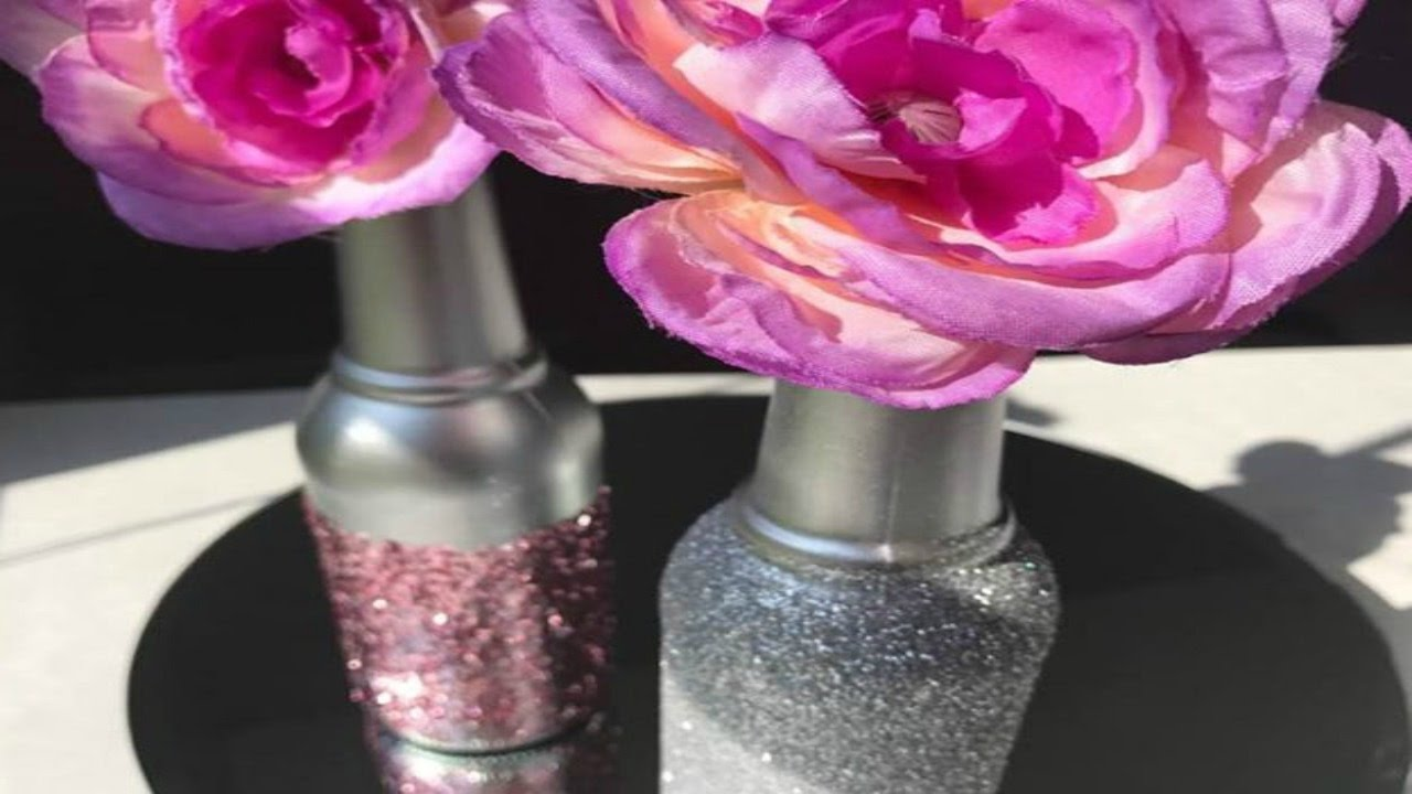 DIY   GLAM BOTTLE UPCYCLE   GLITTER DECORATIONS DIY   PINK   SILVER ...