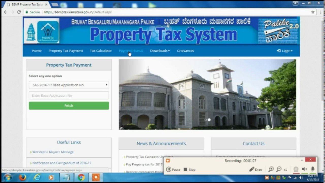 How To Pay Bangalore Bbmp Tax For 2017 2018 Youtube