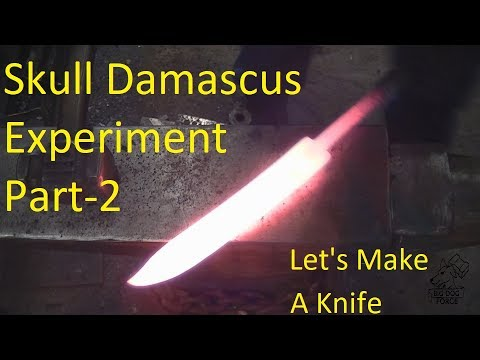 Blacksmithing - skull Damascus Bowie knife