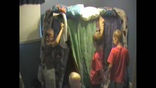 Kids Build A Fort With Blankets
