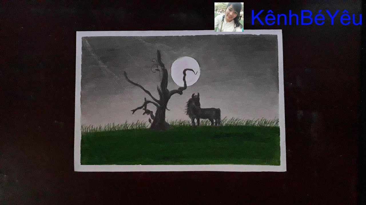 Vẽ chú ngựa trên đồi hoang – Tranh sáp dầu;Draw a horse on a wild hill – Oil wax painting.