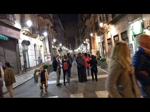 Strolling After Dark in Palermo