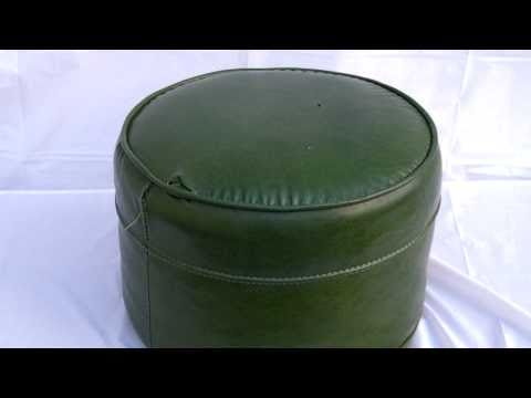 Retro 60 S Round Green Naugahyde Ottoman Footstool Youtube