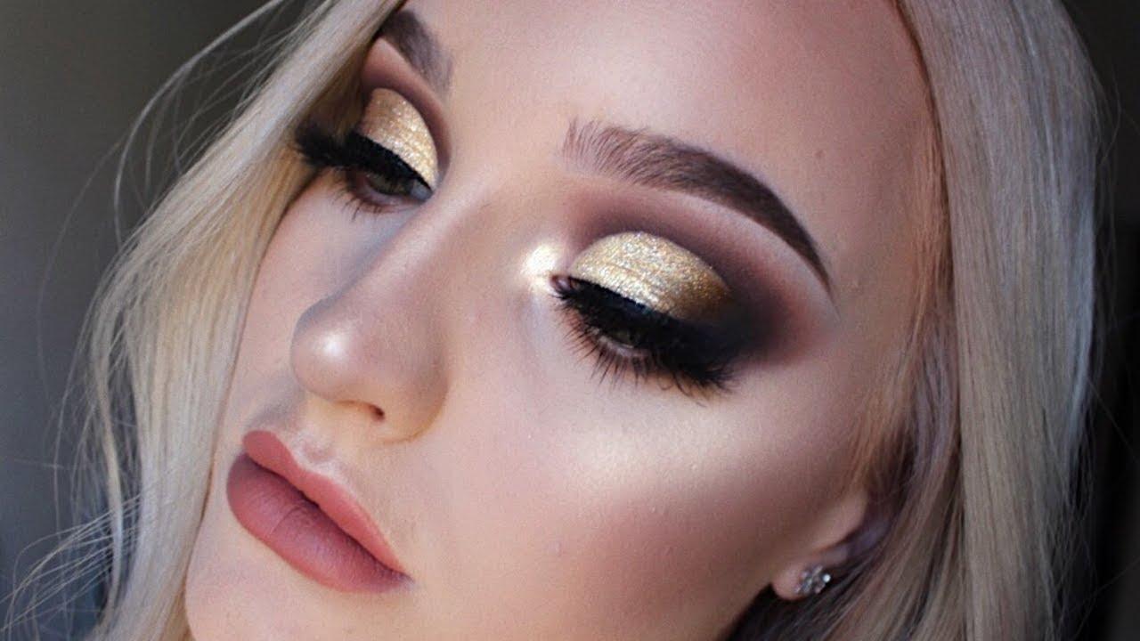 Golden Glitter Half Cut Crease Youtube