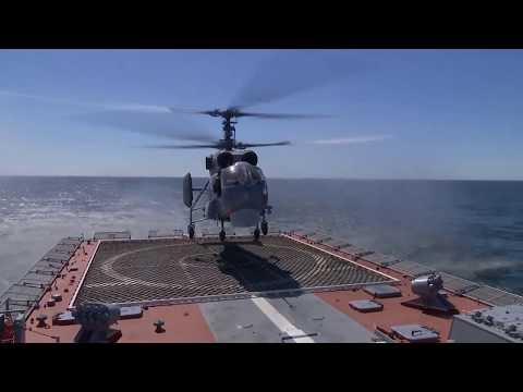 Посадка на палубу вертолетов морской авиации Балтийского флота
