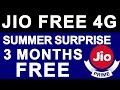 JIO PRIME SUMMER SURPRISE OFFER Launched | Free Unlimited 4G Data for 3 Months Till JULY 2017
