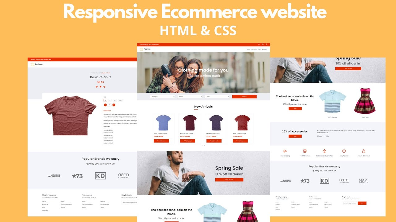 How To Make Ecommerce Website Using HTML And CSS Step By Step   Create Responsive e-Commerce Website
