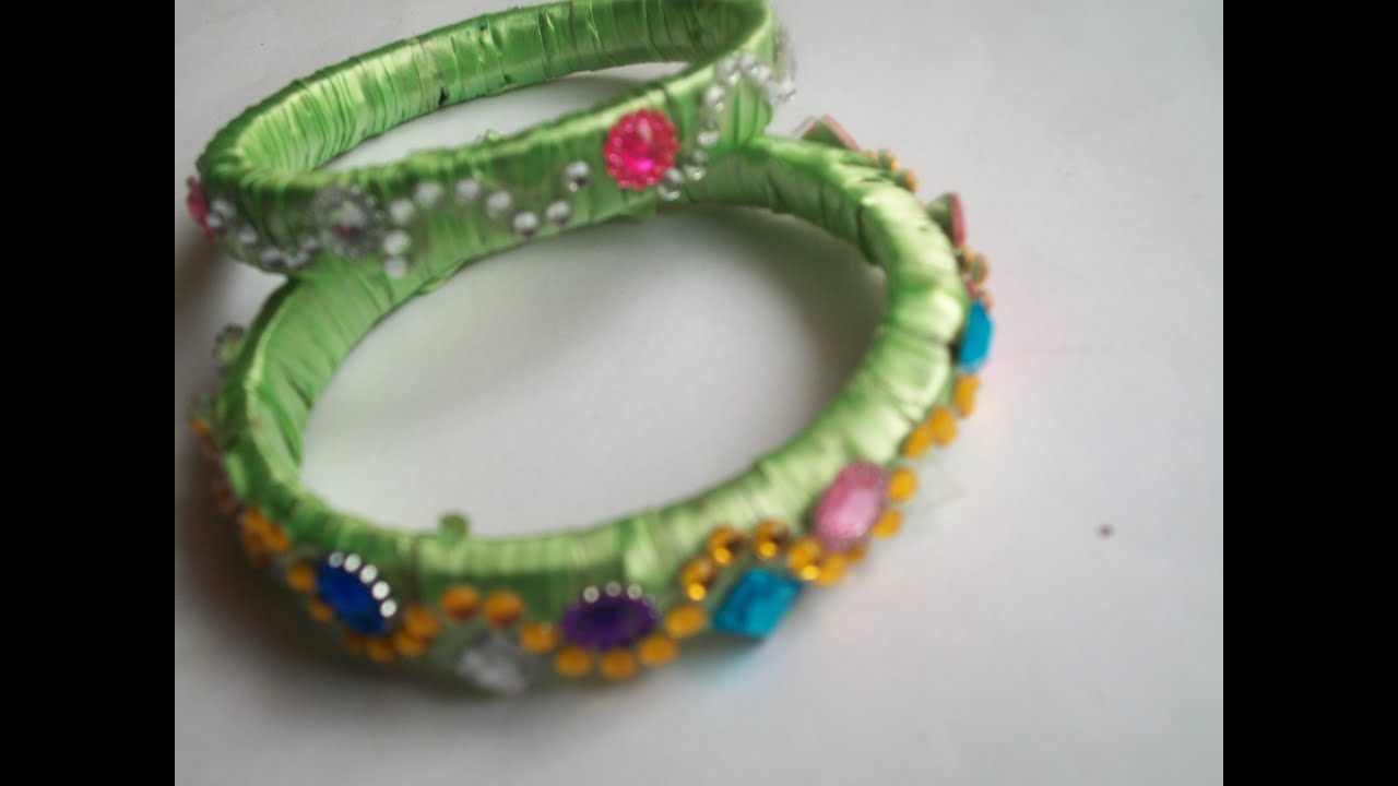 How to make designer jewellery bangles with plastic ribbon and ...