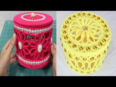 How to make a jewelry box from yarn and newspaper craft?💖👍
