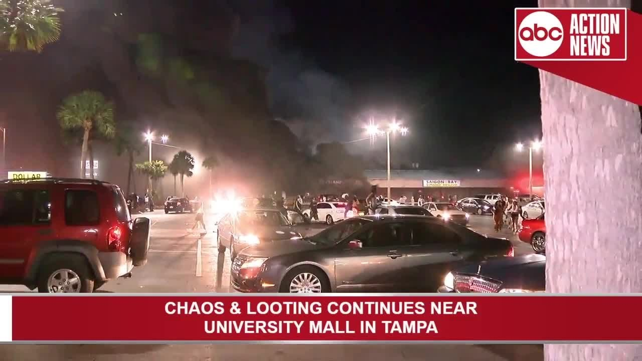 Champs Sports store set on fire during protest in Tampa