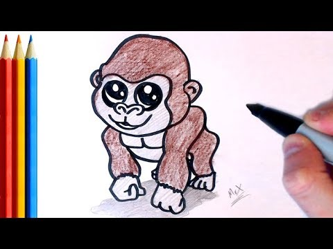 How To Draw Gorilla Step By Step Tutorial Youtube