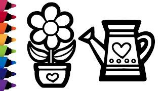 꽃 화분과 물조리개 색칠하기| 무지개 꽃 그리기 | 유…