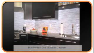 Blue Modern Glass Kitchen Cabinets