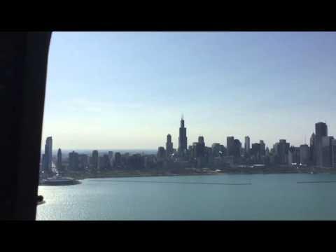 Cruising Chicago skyline in a Marine CH-46E
