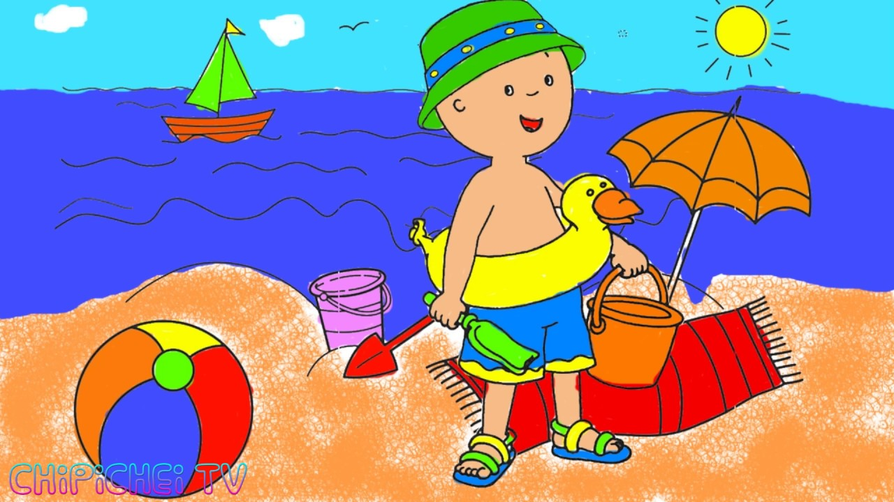 NEW Caillou Goes To The Beach Cartoons For Kids Coloring Pages Easy Children